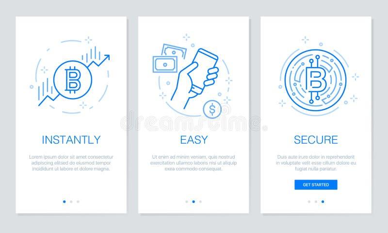 Cryptocurrency och Blockchain begrepp som onboarding app-skärmar Den moderna och förenklade vektorillustrationwalkthroughen avskä royaltyfri illustrationer