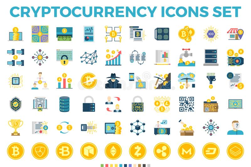 Cryptocurrency och Blockchain lägenhetsymboler vektor illustrationer