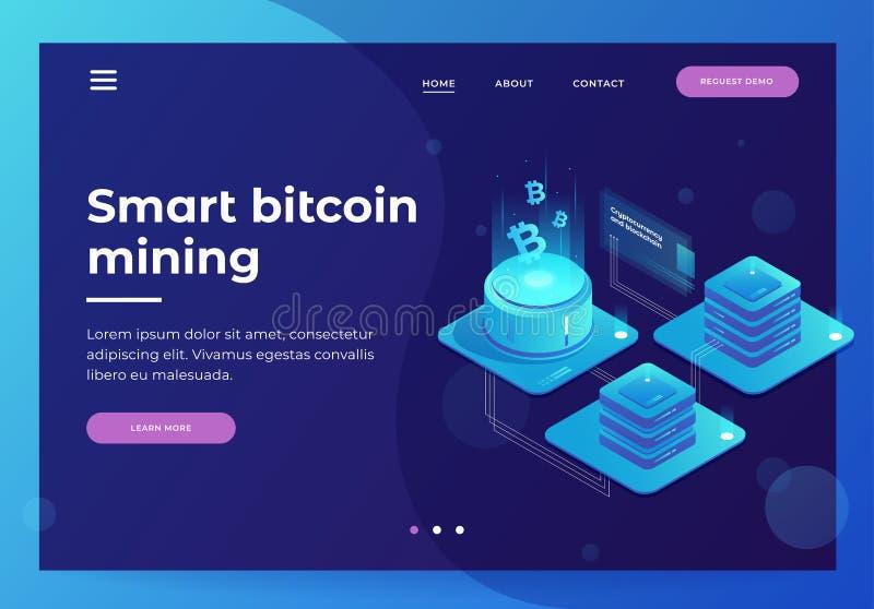 cryptocurrency- och blockchainbegrepp Lantgård för att bryta bitcoins vektor illustrationer