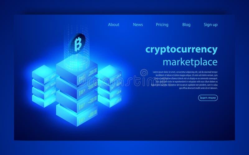 cryptocurrency- och blockchainbegrepp Lantgård för att bryta bitcoins Digital pengarmarknad, investering, finans och handel royaltyfri illustrationer