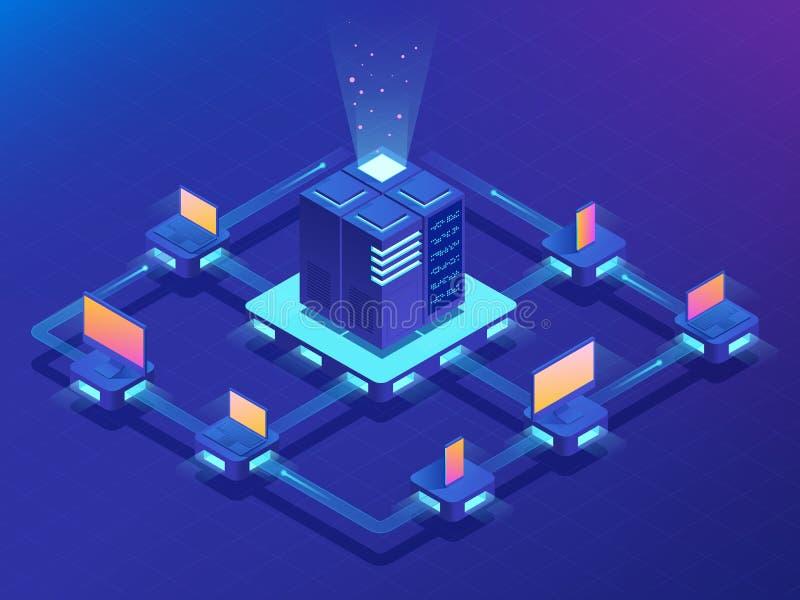 cryptocurrency- och blockchainbegrepp Lantgård för att bryta bitcoins Isometrisk vektorillustration royaltyfri illustrationer