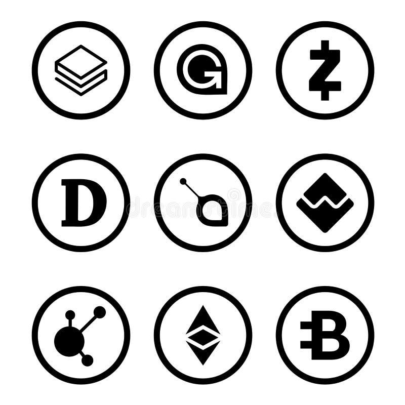 Cryptocurrency oder schwarzer Ikonensatz der virtuellen Währungen lokalisiert stock abbildung