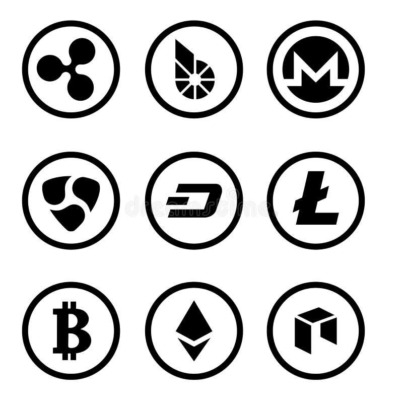 Cryptocurrency oder schwarzer Ikonensatz der virtuellen Währungen lokalisiert vektor abbildung