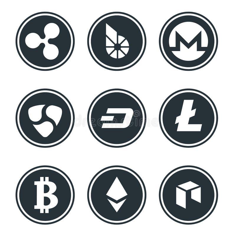 Cryptocurrency oder virtueller Währungsikonensatz lokalisiert lizenzfreie abbildung