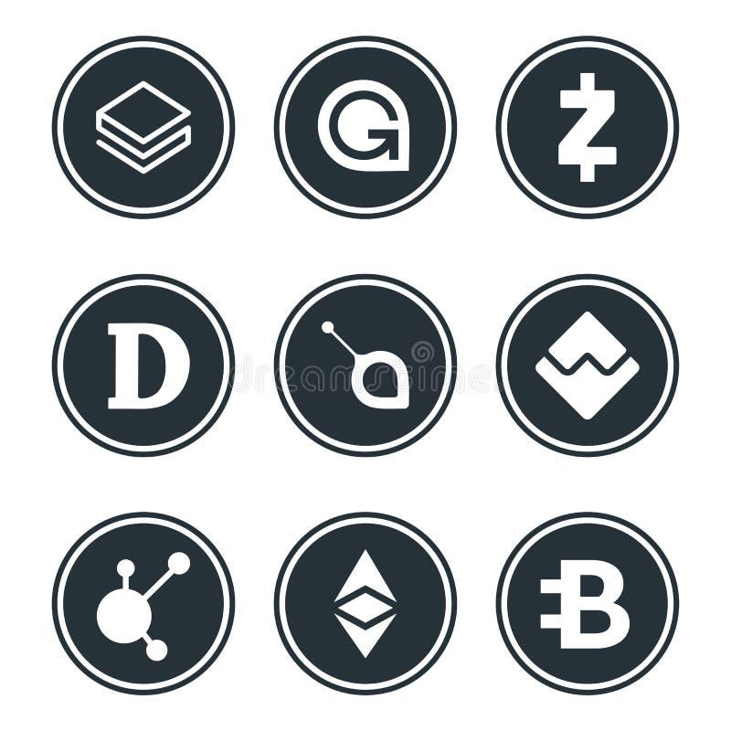 Cryptocurrency oder virtueller Währungsikonensatz lokalisiert vektor abbildung