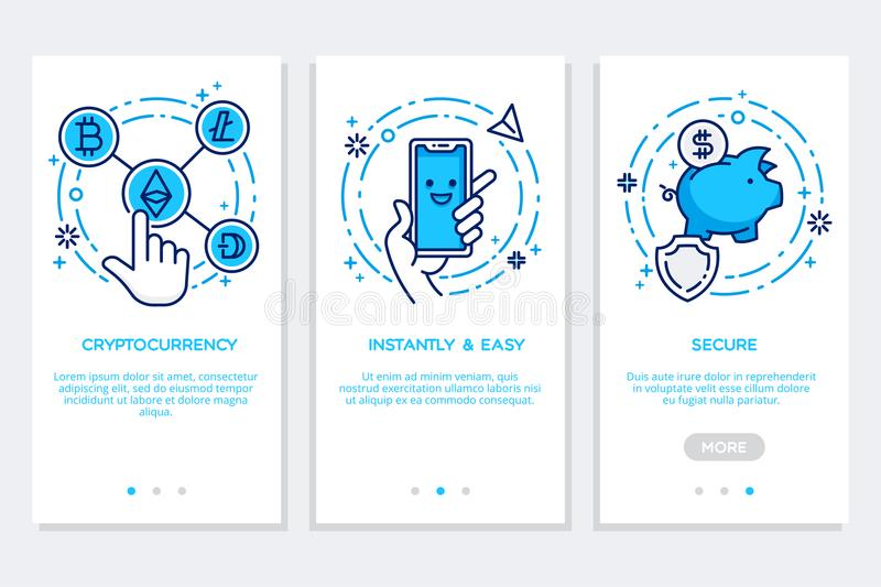 Cryptocurrency onboarding las pantallas del app, interfaz moderno en estilo plano libre illustration