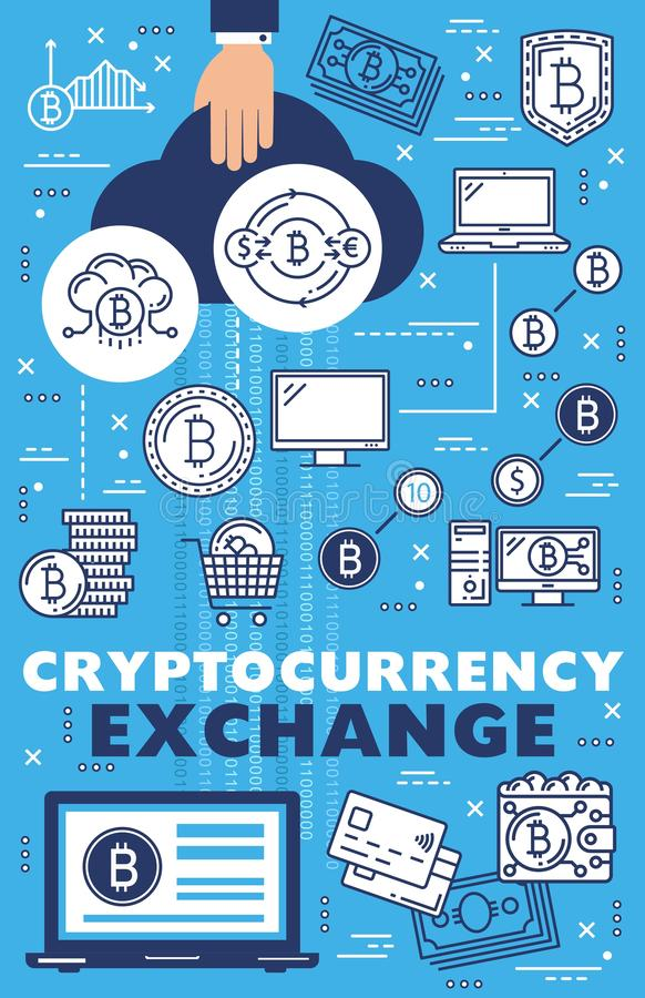 Cryptocurrency online exchange, bitcoin blockchain royalty free illustration