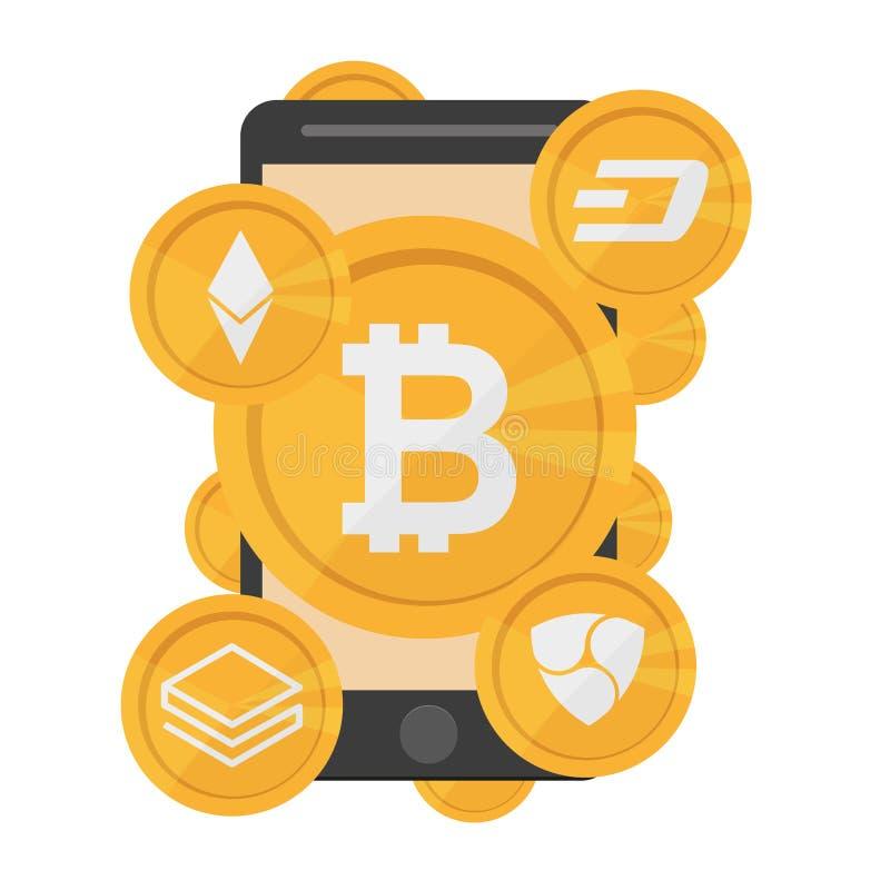 Cryptocurrency op witte achtergrond, digitale munt, futuristisch digitaal geld stock illustratie