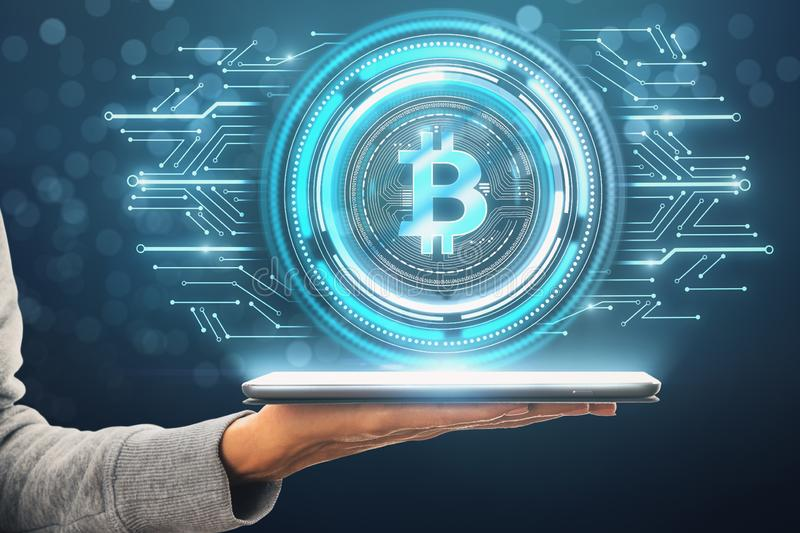 Cryptocurrency and payment concept stock photo