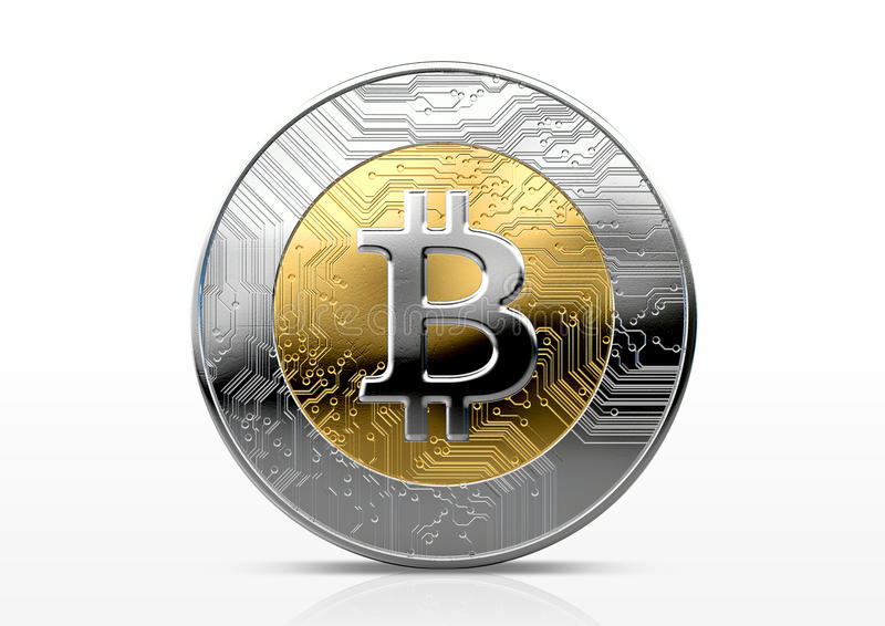 Cryptocurrency Physical Coin. A physical bitcoin cryptocurrency in gold and silver coin form on a dark studio background- 3D render royalty free illustration
