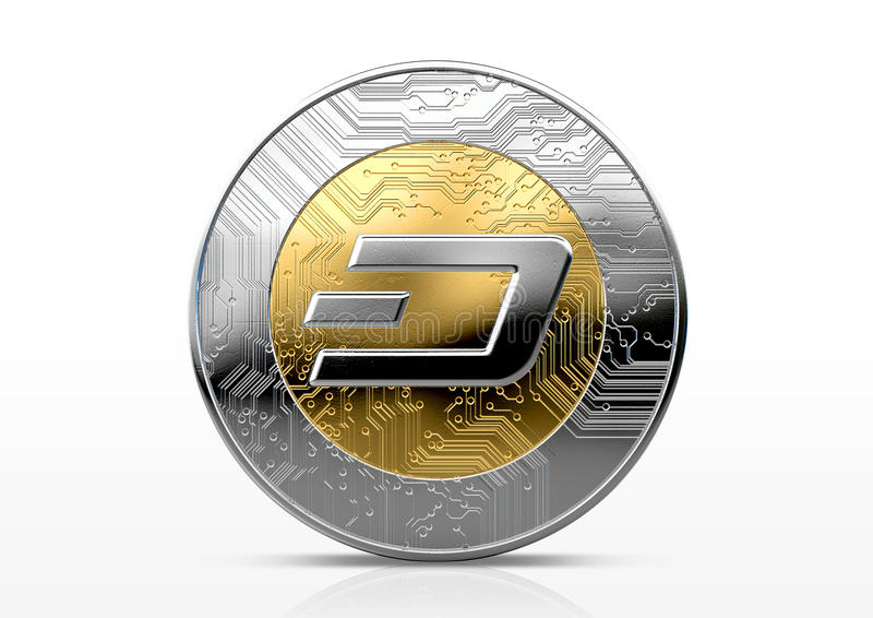 Cryptocurrency Physical Coin. A physical dash cryptocurrency in gold and silver coin form on a dark studio background- 3D render stock illustration