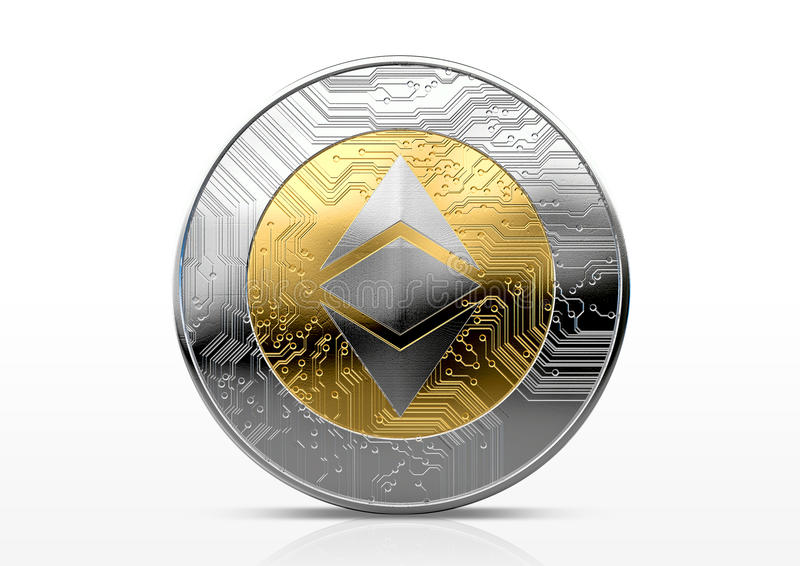 Cryptocurrency Physical Coin. A physical ethereum classic cryptocurrency in gold and silver coin form on a dark studio background- 3D render stock illustration