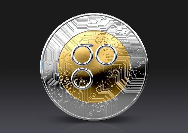 Cryptocurrency Physical Coin. A omisego physical cryptocurrency in gold and silver coin form on a dark studio background- 3D render stock illustration