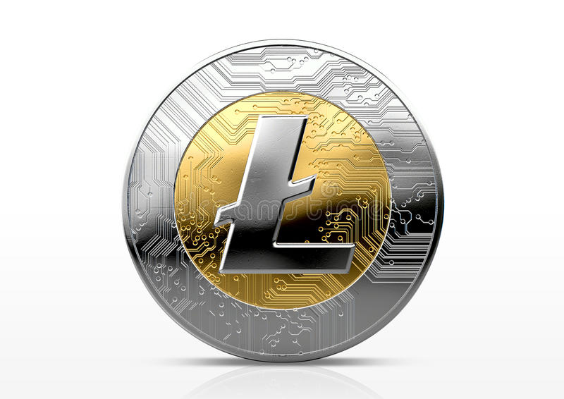 Cryptocurrency Physical Coin. A physical litecoin cryptocurrency in gold and silver coin form on a dark studio background- 3D render vector illustration