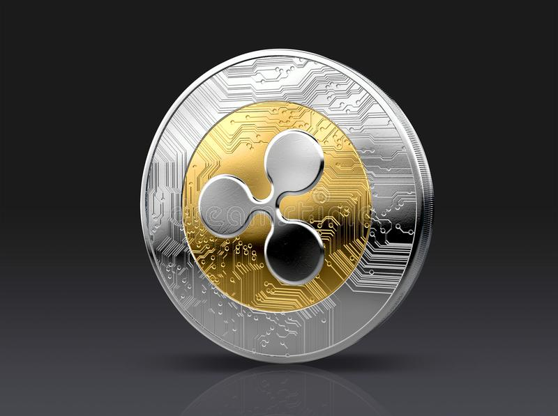 Cryptocurrency Physical Coin. A physical ripple, cryptocurrency in gold and silver coin form on a dark studio background- 3D render stock illustration