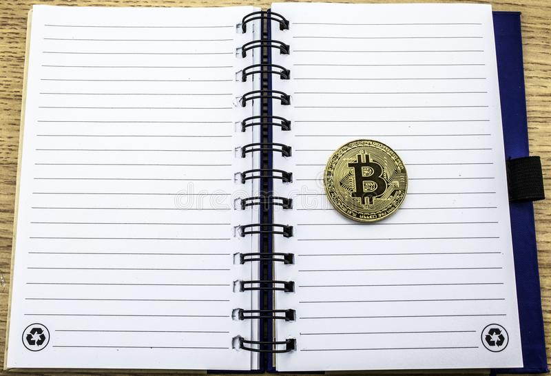 Cryptocurrency physical golden bitcoin. Golden bitcoin on notebook background. 3D illustration. Bit coin royalty free illustration