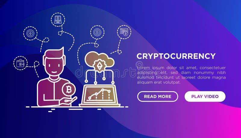 Cryptocurrency poj?cie: m??czyzna z kopalnictwa gospodarstwem rolnym i bitcoin w chmurze Cienieje kreskowe ikony Nowo?ytna wektor ilustracja wektor