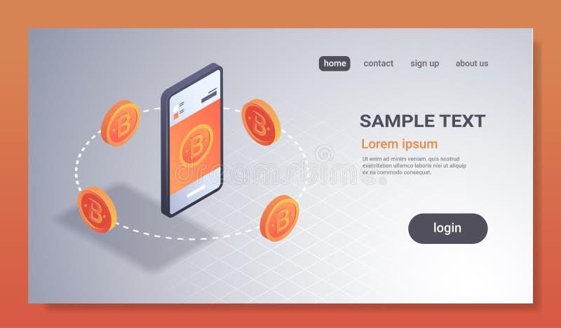 Cryptocurrency portfla onlinego mobilnego składowego podaniowego bitcoin pojęcia 3d smartphone górniczy isometric ekran crypto ilustracja wektor