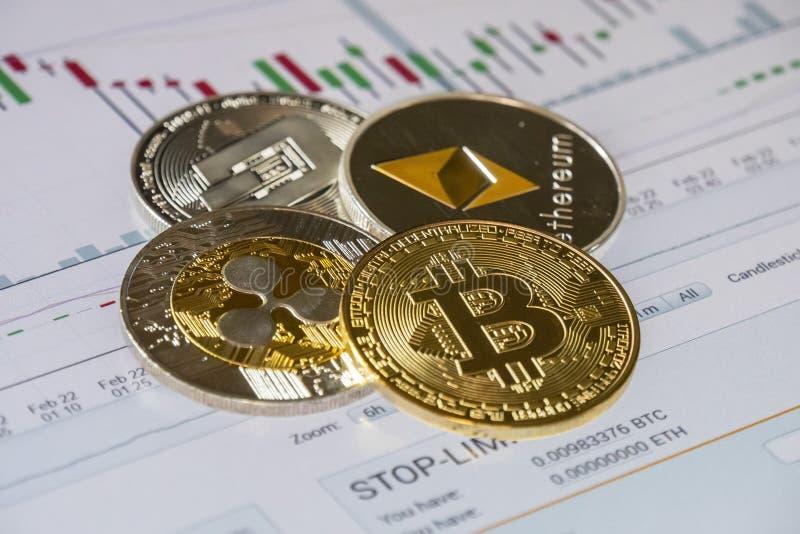 Cryptocurrency prägt über Kauf- und Verkaufshandelsgraphik; Bitcoin, stockbilder