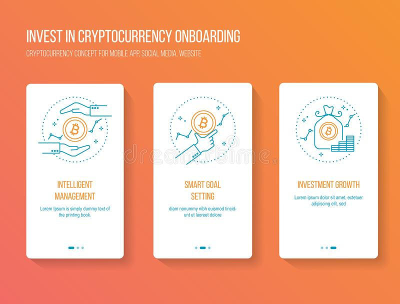 Cryptocurrency que invierte recorrido móvil onboarding del app defiende concepto moderno, limpio y simple Plantilla del ejemplo d libre illustration