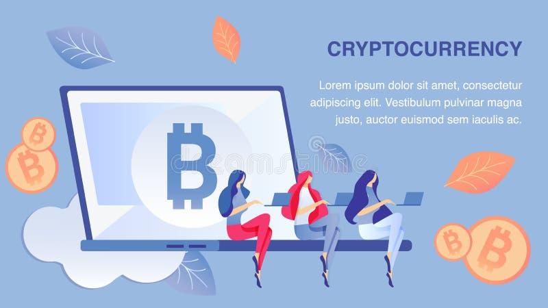 Cryptocurrency que mina o molde liso do vetor da bandeira ilustração do vetor