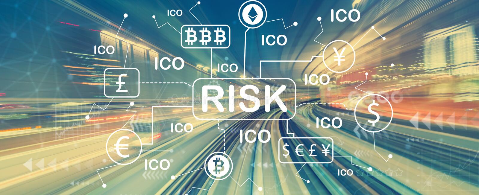Cryptocurrency risk theme with high speed motion blur stock image