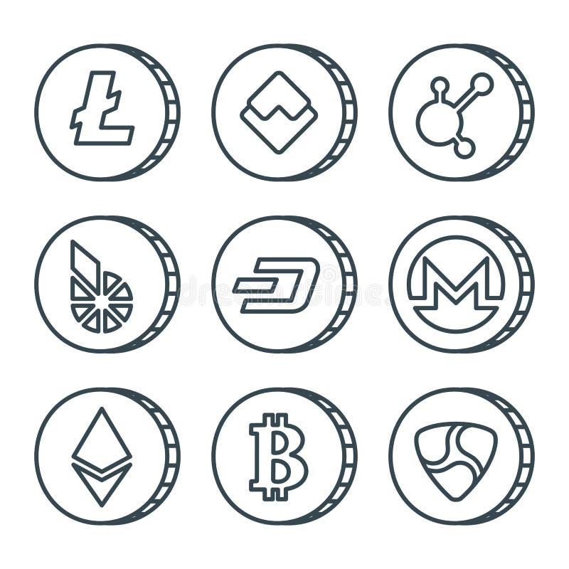 Cryptocurrency-Schwarzentwurfs-Ikonensatz lokalisiert lizenzfreie abbildung