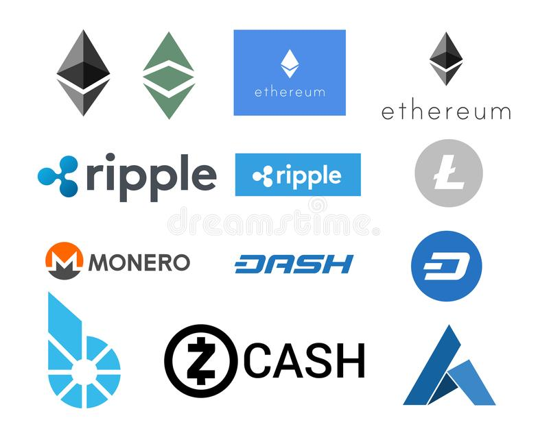 Cryptocurrency - A set of useful illustrations of digital currencies. A cryptocurrency is any kind of peer-to-peer digital money powered by the Blockchain stock illustration