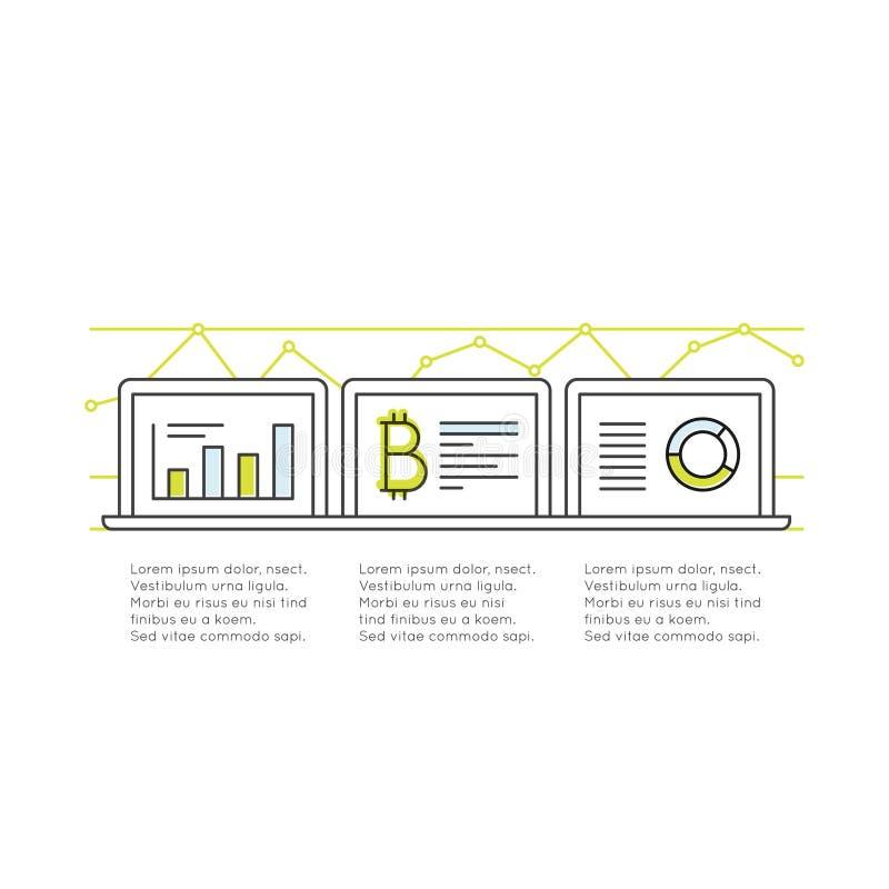 Cryptocurrency som alternativ Digital valuta, Bitcoin tillväxt och hastigheter som övervakar och tjänar stock illustrationer