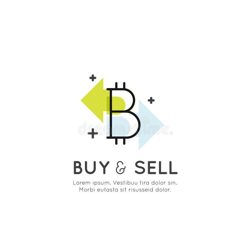 Cryptocurrency som alternativa Digital valuta, Bitcoin tillväxt och hastigheter, köpande och säljabegrepp vektor illustrationer