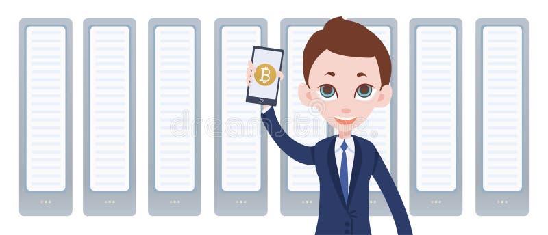 Cryptocurrency som bryter lantgården, och man med smartphonen i hand Mobil bitcoinplånbok app Vektorillustration vid plan stil royaltyfri illustrationer