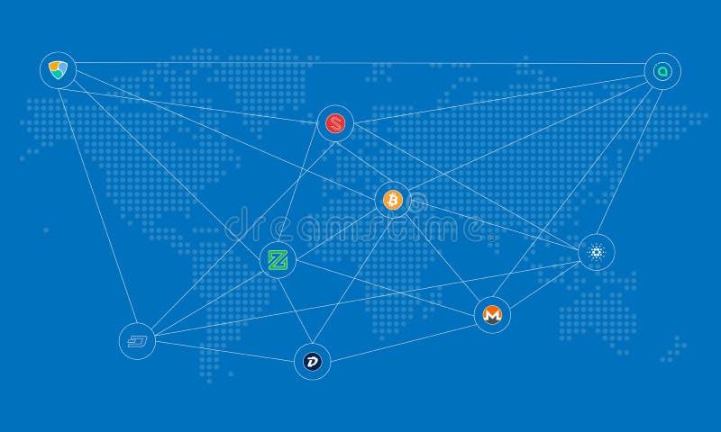 Cryptocurrency som förbinder världen vektor illustrationer