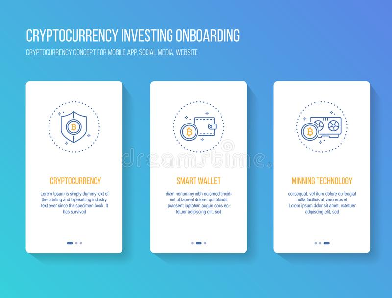 Cryptocurrency som investerar onboarding mobil app-walkthrough, avskärmar modernt, rent och enkelt begrepp Vektorillustrationmall royaltyfri illustrationer