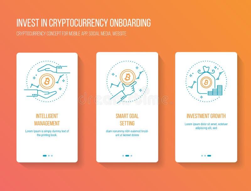 Cryptocurrency som investerar onboarding mobil app-walkthrough, avskärmar modernt, rent och enkelt begrepp Vektorillustrationmall royaltyfri illustrationer