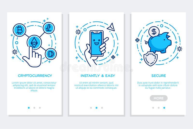 Cryptocurrency som onboarding app-skärmar, modern manöverenhet i plan stil royaltyfri illustrationer