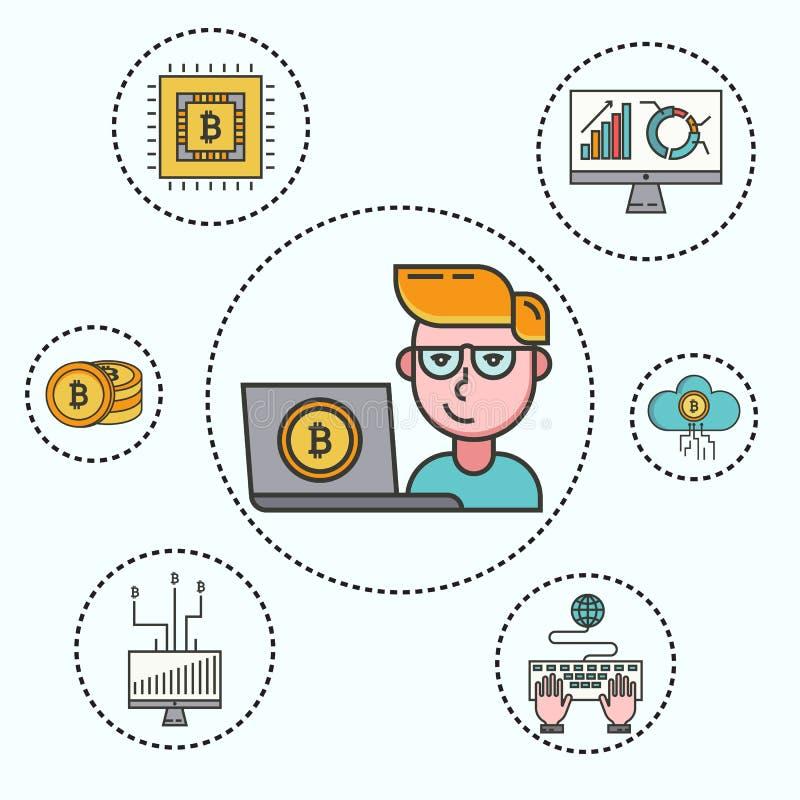 Cryptocurrency ställde in av cryptocoins, den crypto plånboken och unga affärsmannen med datoren och bitcoin som bryter lantgårde stock illustrationer