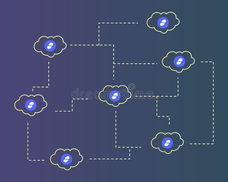 Cryptocurrency status z chmura stylu tłem ilustracji