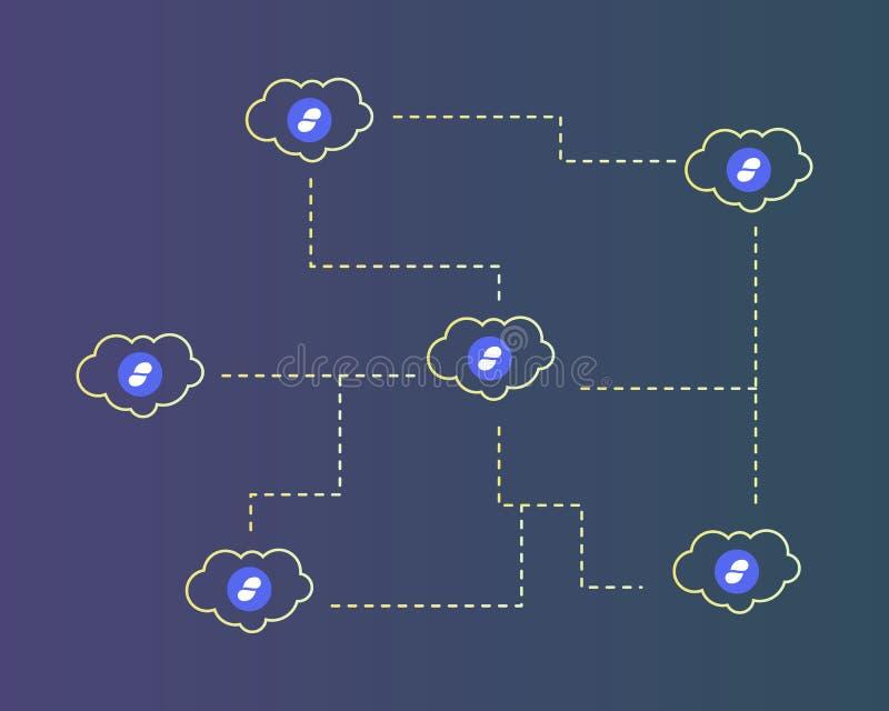 Cryptocurrency status z chmura stylu tłem ilustracja wektor