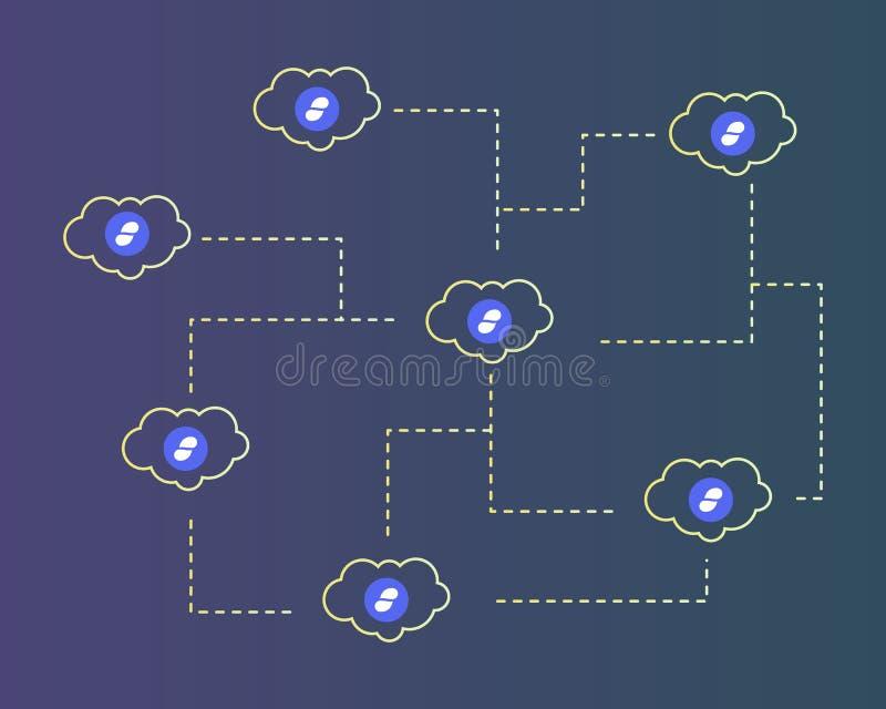 Cryptocurrency status z chmura stylu tłem royalty ilustracja