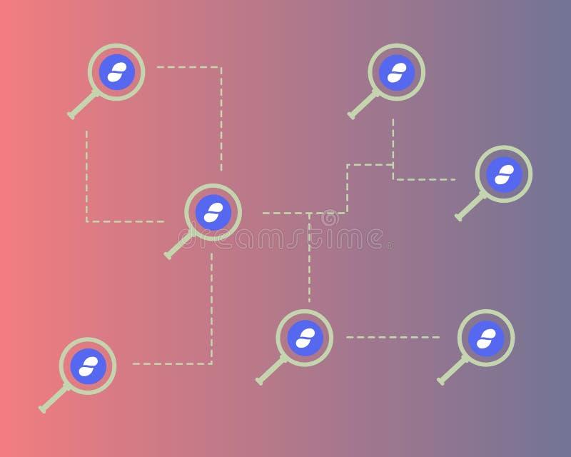 Cryptocurrency status z powiększać stylowego tło royalty ilustracja