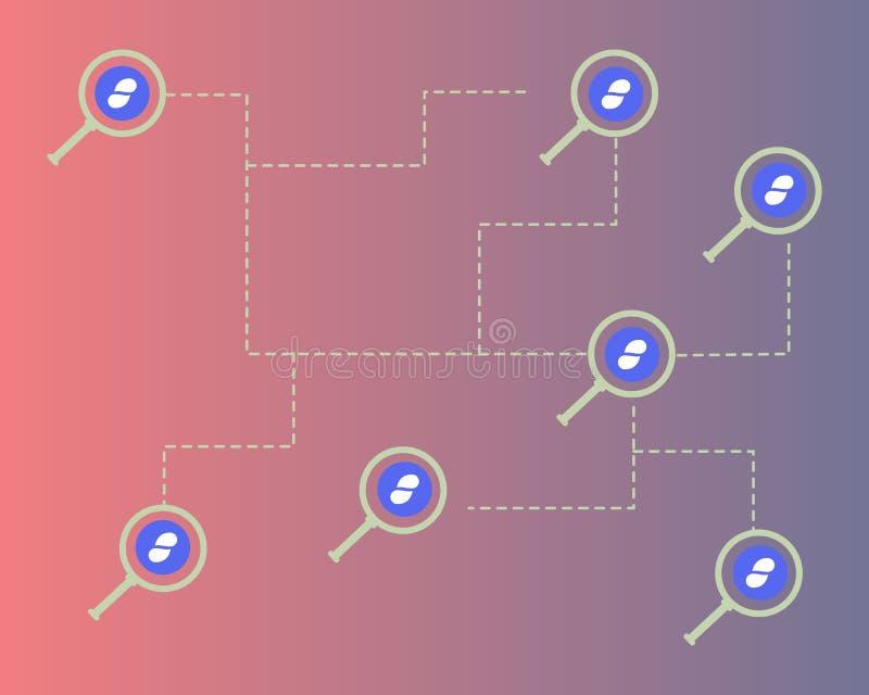 Cryptocurrency status z powiększać stylowego tło ilustracji