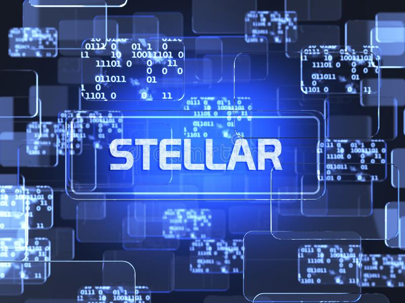 Cryptocurrency Stellar. Future technology block chain cryptocurrency Stellar blue touchscreen interface. Blockchain financial virtual money wallet screen concept royalty free illustration