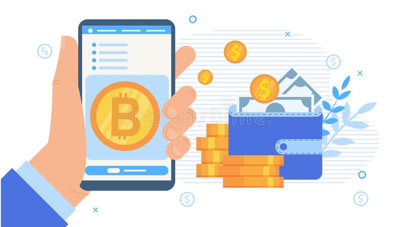 Cryptocurrency Stock Exchange Mobile Application vector illustration
