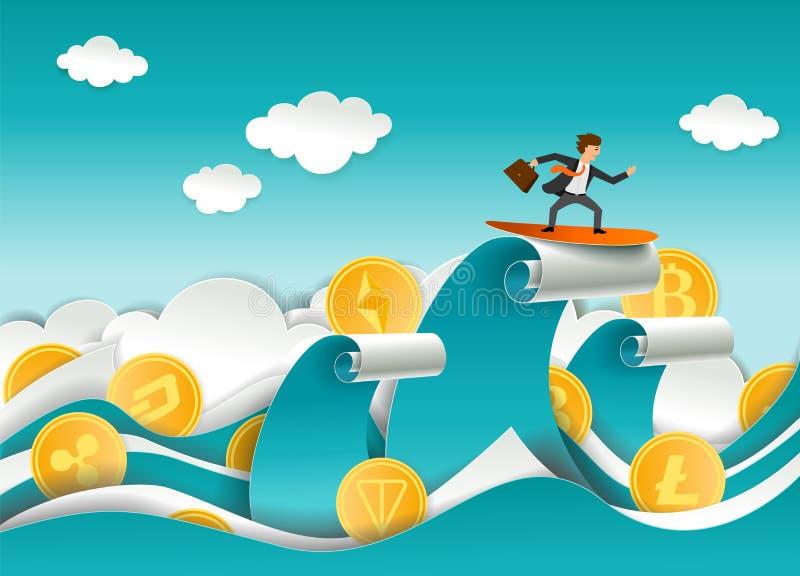 Cryptocurrency surfingowa wektoru papieru rżnięta ilustracja ilustracja wektor