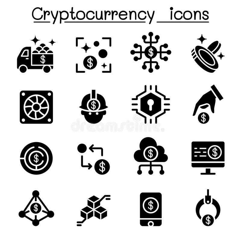 Cryptocurrency symbolsuppsättning vektor illustrationer