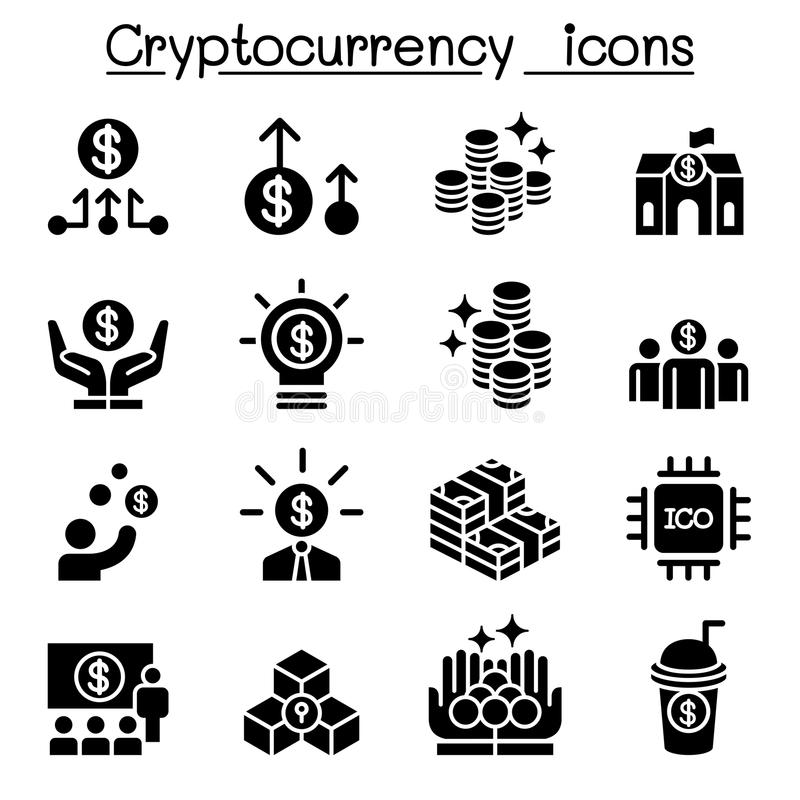 Cryptocurrency symbolsuppsättning royaltyfri illustrationer