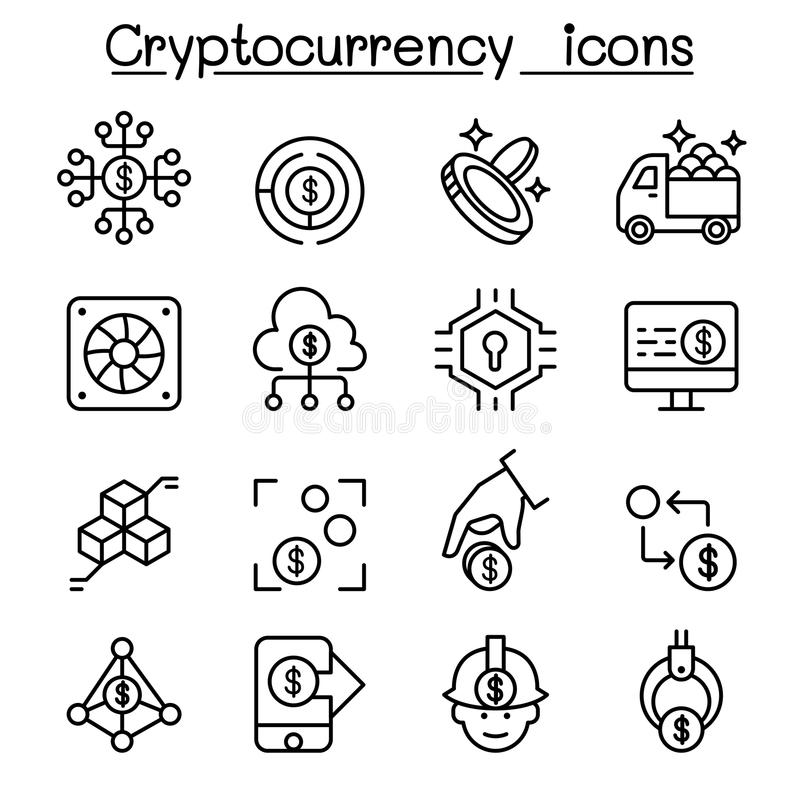 Cryptocurrency symbolsuppsättning i den tunna linjen stil royaltyfri illustrationer