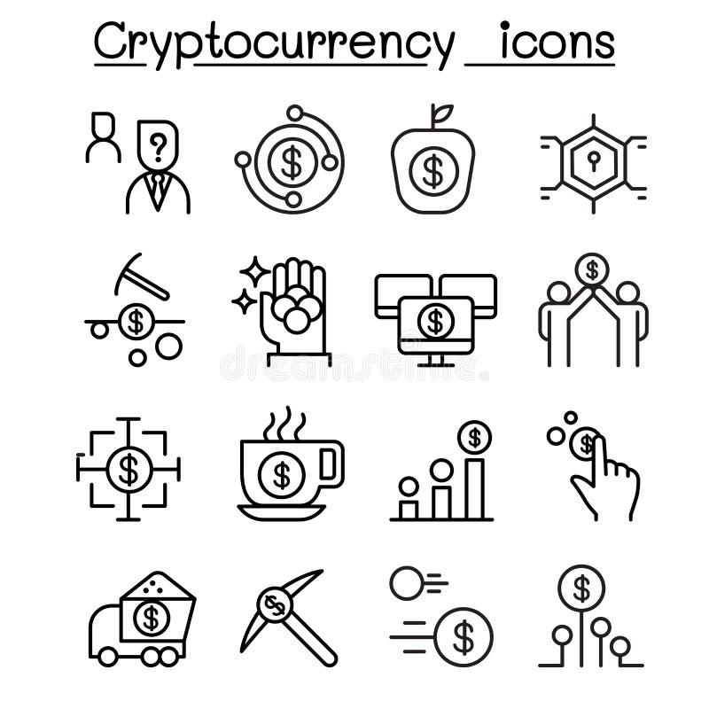 Cryptocurrency symbolsuppsättning i den tunna linjen stil stock illustrationer