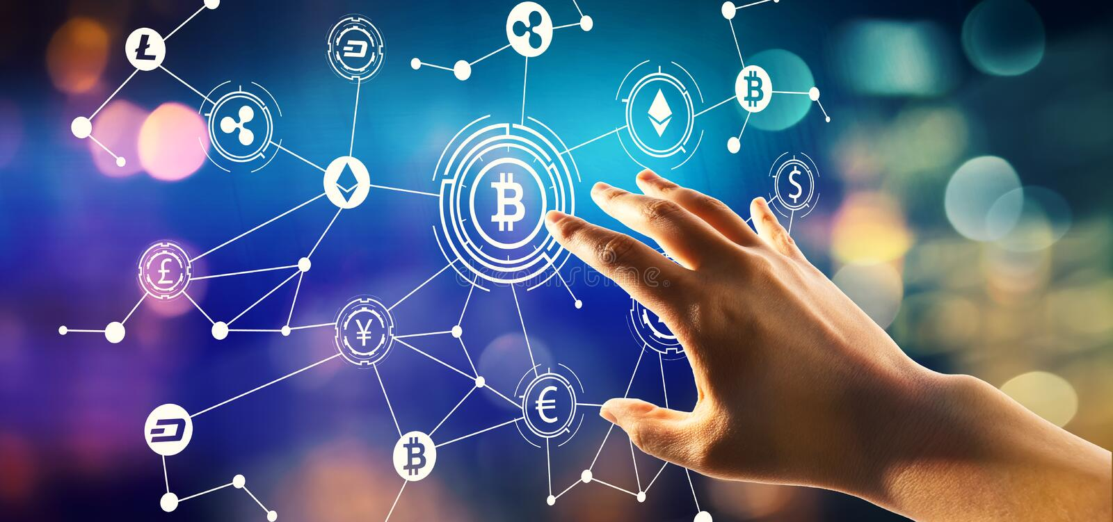 Cryptocurrency theme with hand pressing a button royalty free stock photo