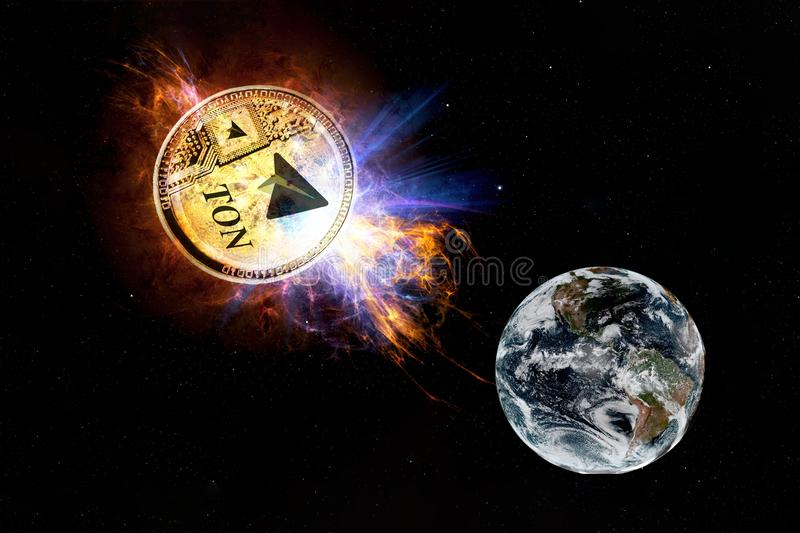 Cryptocurrency TON från telegram Det guld- myntet av TONEN faller till jordningen från utrymme- och attackjord arkivfoton